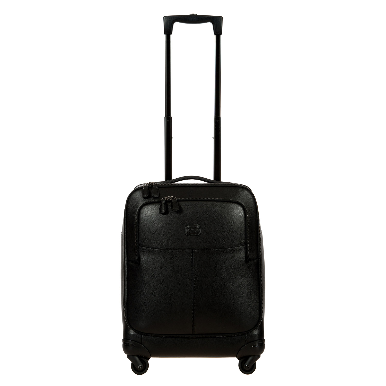 "The Varese 21"" Carry-On Spinner by BRIC'S is finely handcrafted in Italy, with full grain Tuscan Saffiano leather. The crosshatch pattern of Saffiano leather is timeless and lends a sophistication to the black-on-black line."