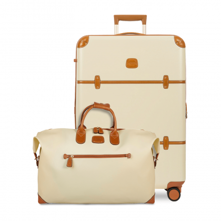 Brown and Cream Luggage Set - Spinner and Duffle